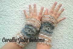 Vente au détail: Gants femme en laine crochetés main d'hiver multicolore