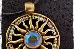 Selling: Gold, Jeweled SUN Round Pendant - Leather Cord Necklace - Be