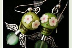 Selling: Day of the Dead Angel/Daisy earrings