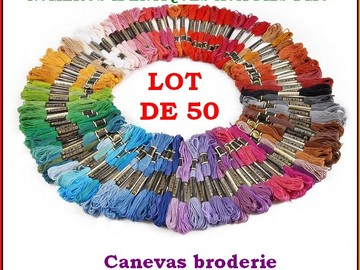 Vente au détail: LOT 50 ECHEVETTES FILS A BRODER CANEVAS BRODERIE BRACELETS