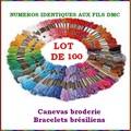 Vente au détail: LOT 100 ECHEVETTES FILS A BRODER CANEVAS BRODERIE BRACELETS