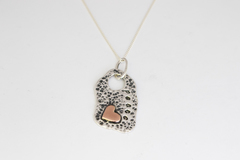 Selling: Silver Dog Tag Peace Pendant with Copper Love Heart