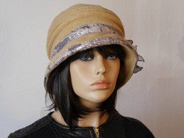 Vente au détail: Chapeau en laine  bouillie beige Camillia 13