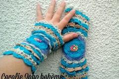 Vente au détail: Mitaines originales turquoise multicolore femme en laine
