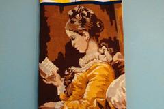 """Vente au détail: Sac à pain, sac à baguettes """"La liseuse"""", canevas et tissu"""