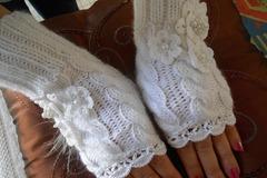 Vente au détail: Mitaines neige dentelle fait en laine