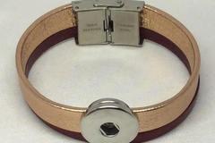 Vente au détail: Bracelet en cuir métallisé pour bouton pression de 18mm