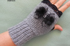 Vente au détail: mitaines en laine /mitaines tricotées main laine grise/