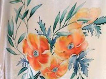 Sale retail: Peinture sur soie pour un corsage  tunique en crêpe  de soie