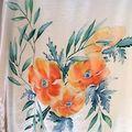 Vente au détail: Peinture sur soie pour un corsage  tunique en crêpe  de soie