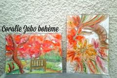 Vente au détail: Lot de 2 cartes postales aquarelle peinture féerique automne