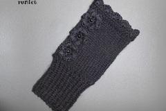 Vente au détail: mitaines femme tricot laine noire  dentelle en fil phildar