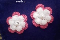 Vente au détail: 5 fleurs doubles en coton au crochet pour creation