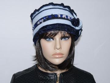 Vente au détail: Bonnet bleu marine et bleu ciel en polyester, laine Nina 17