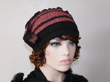 Vente au détail: Bonnet toque rose et noire en polyester et laine Nina 18