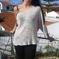 Vente au détail: T-shirt blouse asymétrique façon tricot bordée au croché