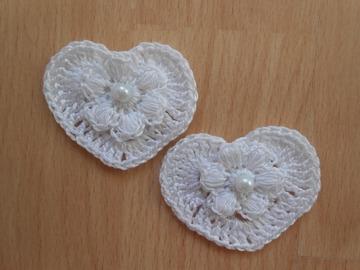 Vente au détail: coeurs fleur blanc au crochet/coeurs et fleurs au crochet, p