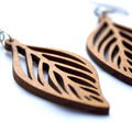 Products: Recycled wood leaf earrings