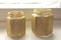 Ilmoitus: Kultahileiset lasipurkit 42 kappaletta