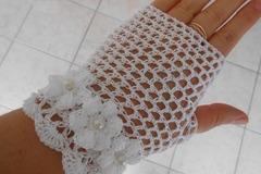 Vente au détail: mitaines crochet/Mitaines femme dentelle crochet  blanc