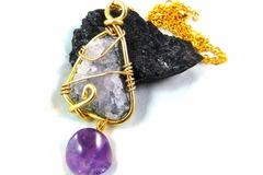 Vente au détail: Talisman druse d'améthyste wire wrapping avec sa perle d'amé