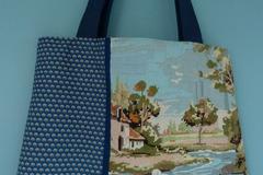 """Vente au détail: Sac cabas """"Lavandière"""", canevas vintage et tissu imprimé"""