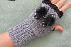 Vente au détail: mitaines en laine femme/mitaines tricotées main laine grise