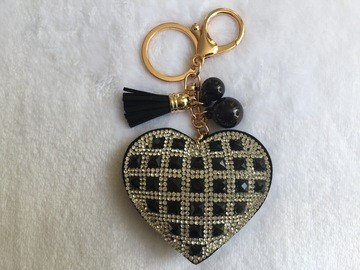Vente au détail: Porte Clés - Bijou de sac chic Coeur strass NOIR