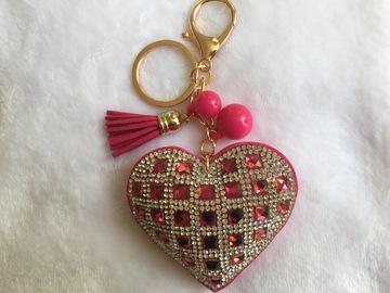 Sale retail: Porte Clés - Bijou de sac chic Coeur strass FUCHSIA