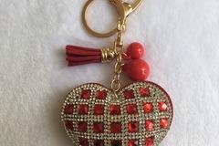 Vente au détail: Porte Clés - Bijou de sac chic Coeur strass ROUGE