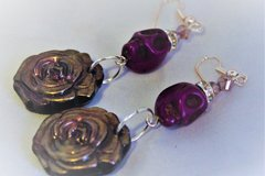 Selling: Purple Day of the Dead with Roses Dangle Earrings