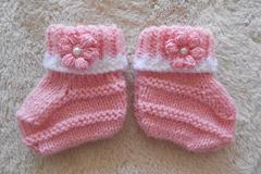 Vente au détail: chaussons bébé 0-1mois, tricoté main