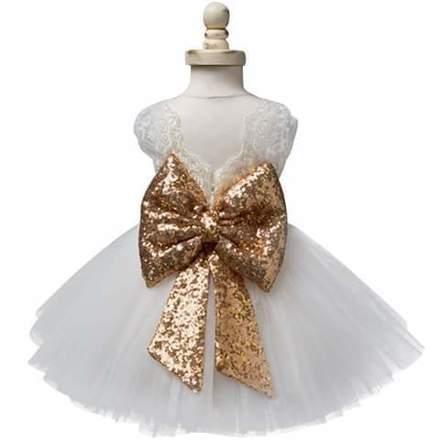 Vestido Moño Niñas De Fiesta Mayoreo Dorado Click rrxZwd