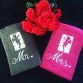 Vente au détail: Lot de deux serviettes toilettes amoureux Madame Monsieur