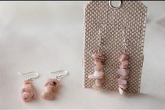 Selling: Sterling Silver Pink Peruvian Opal Earrings