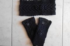 Vente au détail: accessoires tricotés/bandeau chaude laine/Bandeau laine noir