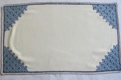 Vente au détail: Napperon rectangulaire coton blanc broderie marocaine