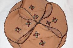 Vente au détail: fleur panier a pain coton marron broderie marocaine