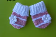 Vente au détail: moufles bébé laine blanche rose fleur/cadeau naissance/mitai