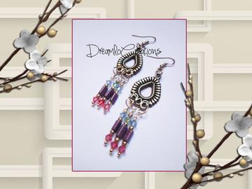 Vente au détail: Boucles d'oreilles en perles Swarovski /rocaille métallisée