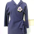 Vente au détail: Veste femme en  laine bouillie col châle couleur violet