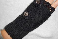 Vente au détail: mitaines en laine/Gants Hiver, Gants Hiver en laine noire Ch