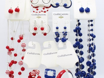 Liquidation Lot: 132 Piece New Dept. Store Jewelry & Display - Red White & Blue