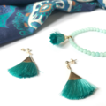 Products: AQUA TASSEL EARRINGS | FAN