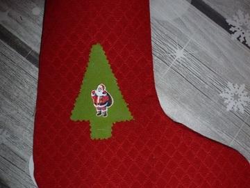 Vente au détail: botte ou chaussette de Noël à suspendre , 2 côtés differents