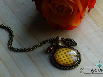 Vente au détail: Collier cabochon géométrique couleur d'automne