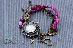 Vente au détail: Bracelet montre manchette liberty violet