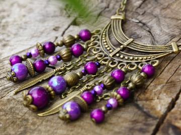 Vente au détail: Collier petit plastron bronze et violet