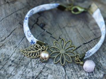 Vente au détail: Bracelet fleur biais liberty (plusieurs coloris disponibles)