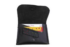 Vente au détail: Porte carte en cuir noir avec  touche de couleur